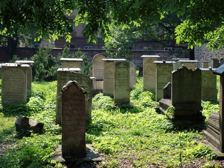 The Remuh Cemetery in Krakow, Poland, is a Jewish cemetery established in 1535. It is located beside the Remuh Synagogue Stock Photo - 7613036