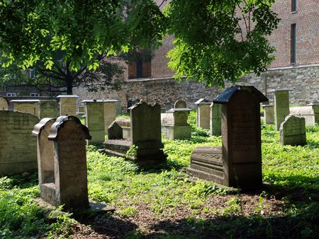 remuh: The Remuh Cemetery in Krakow, Poland, is a Jewish cemetery established in 1535. It is located beside the Remuh Synagogue  Stock Photo