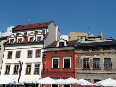 Krakow - a unique architecture in the old Jewish district of Kazimierz Stock Photo
