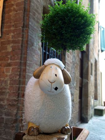 ovely mascots of sheep Pienza. Pienza is famous for its cheese photo