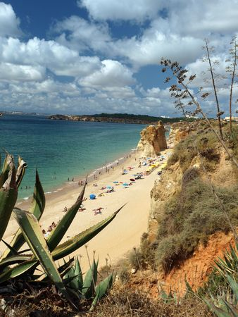 A section of the idyllic Praia de Rocha beach on the southern coast of the Portuguese Algarve region.  photo