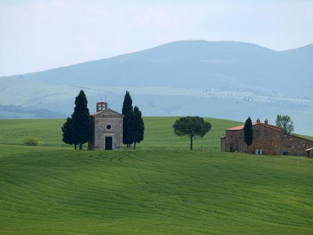 The lonely church Capella de Vitaleta near Pienza photo