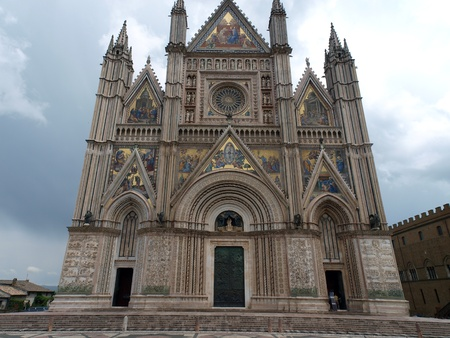 Orvieto - Duomo facade.West front of the Gothic facade of the Orvieto Cathedral, designed by Lorenzo Maitani. Stock Photo - 8365956
