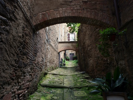 etruscan: lovely, steep and narrow streets of Cortona. Tuscany