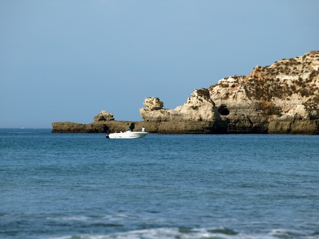 vilamoura: Caves and colourful rock formations on the Algarve coast in Portugal