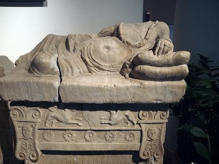 etruscan: Etruscan gravestones . Alabaster cinerary urns . 3-2 centuries B.C. On the lid male deceased