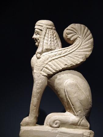 etruscan: Etruscan gravestones . Pietra fetida - funerary sphinx, middle 6 century B.C.