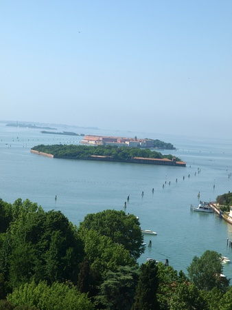 View on Venetian Lagoon and islands from Campanile San Giorgio Maggiore.  photo