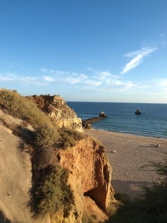 rocha: Praia da Rocha in the glow of the sunset. Portimao, Algarve