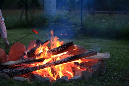 The campfire in the evening  photo