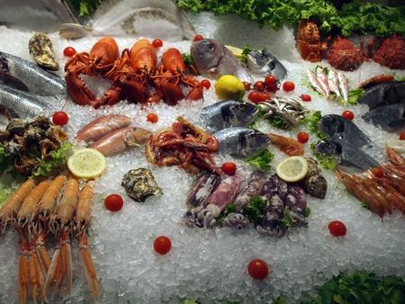saefood market - Frutti di mare in ice 版權商用圖片