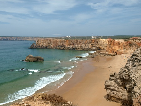Monumental cliff coast near Cape St  Vincent, Portugal photo