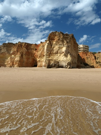 vilamoura: Colorful rock cliffs of the Algarve in Portugal