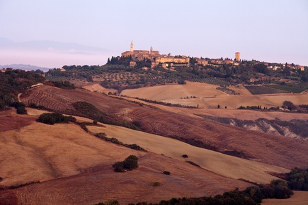 view of Pienza, just after sunrise. Tuscany, Italy Stock Photo - 10682963