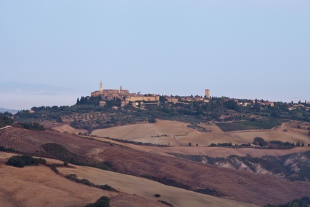 view of Pienza, just after sunrise. Tuscany, Italy photo