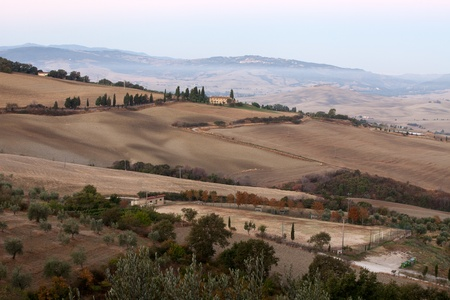 The hills around Pienza and Monticchiello  just after sunrise. tuscany, Italy. Stock Photo - 10682934