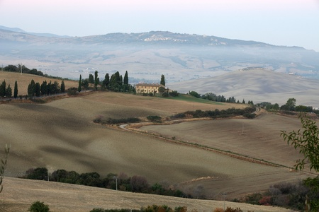 The hills around Pienza and Monticchiello  just after sunrise. tuscany, Italy. Stock Photo - 10678081