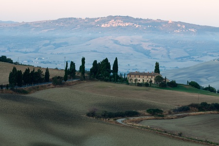 The hills around Pienza and Monticchiello  just after sunrise. tuscany, Italy. Stock Photo - 10678082