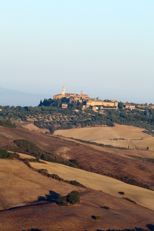 view of Pienza, just after sunrise. Tuscany, Italy Stock Photo - 10682945