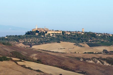 view of Pienza, just after sunrise. Tuscany, Italy Stock Photo - 10682962
