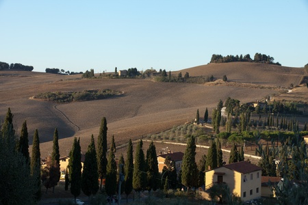 The hills around Pienza and Monticchiello  just after sunrise. Tuscany, Italy. Stock Photo - 10682941