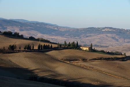 The hills around Pienza and Monticchiello  just after sunrise. Tuscany, Italy. Stock Photo - 10678083