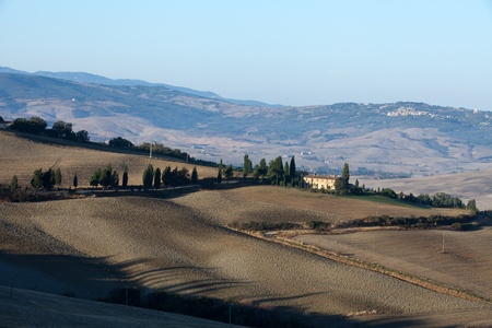 The hills around Pienza and Monticchiello  just after sunrise. Tuscany, Italy. Stock Photo - 10686667