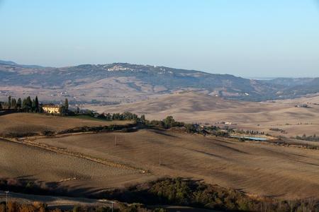 monticchiello: The hills around Pienza and Monticchiello  just after sunrise. Tuscany, Italy.