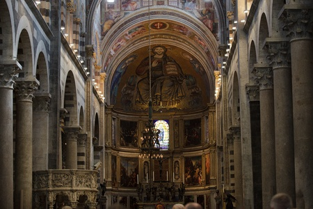 nave: Pisa - Duomo interior. The nave and the altar