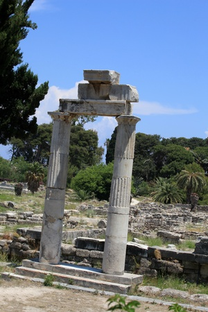 dodecanese: the ruins of the ancient agora on Kos Island, Dodecanese Editorial