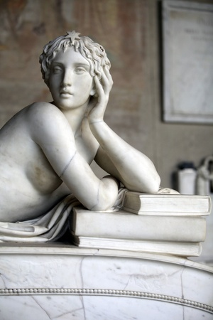 muse: Pisa Campo Santo: Detail from Tomb of Ottaviano Fabrizio Mossotti (1791 - 1863), italian mathematician, physicist and astronomer. The reclining figure represents the Science.  Gentle beauty immortalised in marble  Editorial