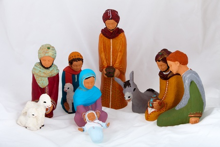 balthasar: Figures representing nativity scene on white background