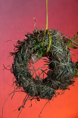 eco-friendly Christmas decorations, hand-made of hay  photo