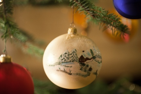 Christmas bauble on christmas tree