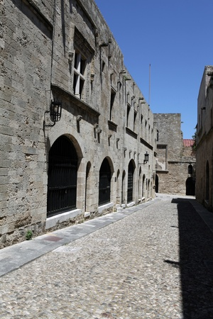 Old Rhodos town. Street of the Knights (Now Embassy street) Greece.