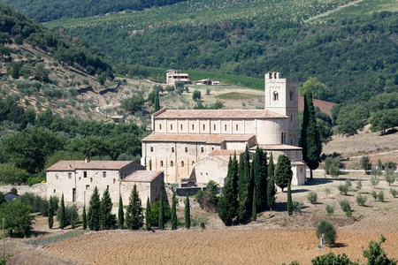 Sant Antimo Abbey near Montalcino in Tuscany, Italy photo