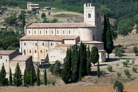 antimo: Sant Antimo Abbey near Montalcino in Tuscany, Italy Stock Photo