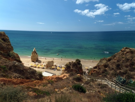 A section of the idyllic Praia de Rocha beach on the southern coast of the Portuguese Algarve region.  photo