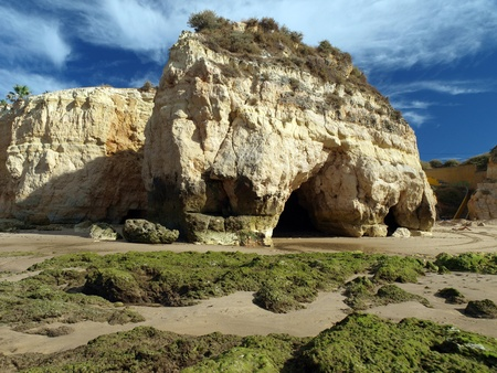 Algarve coast at low tide the ocean  photo