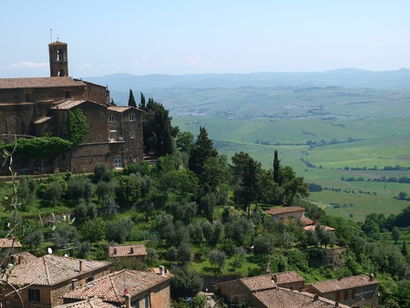 agriturismo: Medieval Town In Montalcino Area, Tuscany, Italy Stock Photo