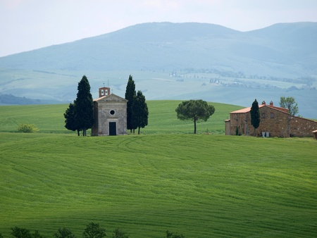 The lonely church Capella de Vitaleta near Pienza photo