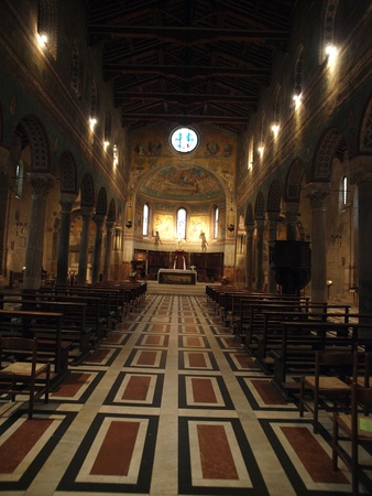 nave: Chiusi - The Romanesque Cathedral (Duomo) of San Secondiano, built around 560 AD over a pre-existing basilica, and renovated in the 13th century. It has a nave and two aisles supported by antique columns.