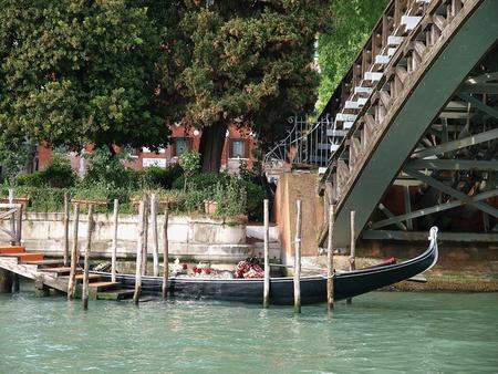 academia: Venice - Gondola at the bridge Academia Stock Photo