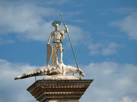 patron: Venice. Piazetta - sculpture of St. Theodore, Venices first patron