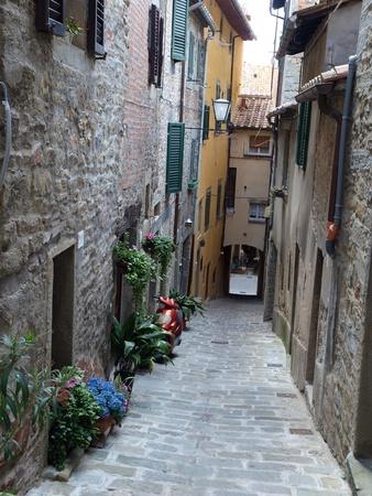 etruscan: A street in Cortona, the Tuscan town of Etruscan origin