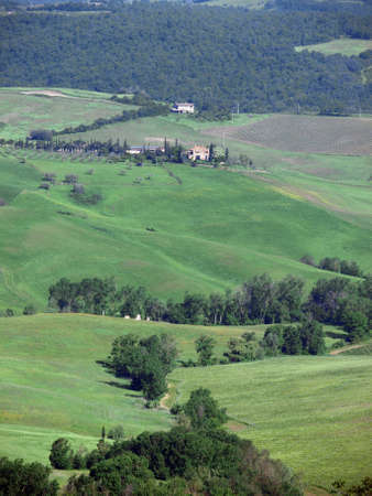 The beautiful landscape of Tuscany. View of the hills between Montepulciano and Pienza photo