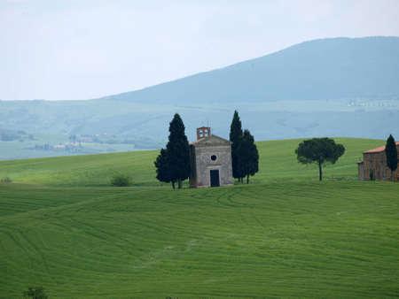 valdorcia: Church of Capella de Vitaleta, near Pienza, Tuscany, Italy, Europe Editorial