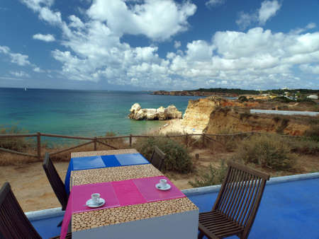 vilamoura: Terrace overlooking the beautiful beach and cliff Editorial