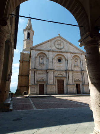 valdorcia: Pienza - Duomo facade. The town of Pienza is a small pearl in the Tuscan countryside. This fantastic town was declared an UNESCO World Heritage Site in 1996 and in 2004 the entire valley, the Val dOrcia, was included on the list of UNESCOs World Cultura