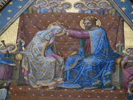 orvieto:  Coronation of the Virgin. One of the many mosaics on the facade of the cathedral in Orvieto , Umbria  Editorial